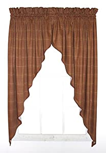 morrison plaid check print swags jabot curtains pair 90 inch by 63 inch rust. Black Bedroom Furniture Sets. Home Design Ideas