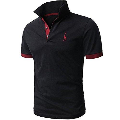 夏 服メンズ, Plade メンズ 半袖 ポロシャツ 修身 半袖 Tシャツ 開襟シャツカッコイイスポーツウェア ゴルフウェア (XL, C)