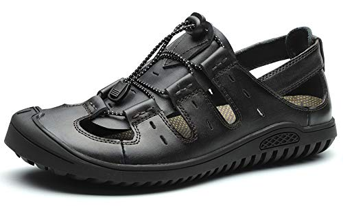 JIONS Closed Toe Leather Fisherman Mens Sandals, Men Outdoor Sport Summer Shoes (48/12 M US, C- Black)