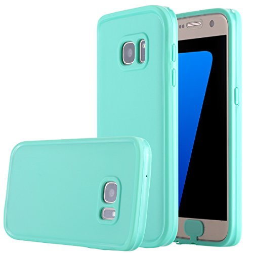 Galaxy S7 Waterproof Case, Pandawell Super Slim Thin Light [360 All Round Protective] Full-Sealed IPX-6 Waterproof Shockproof Dust/Snow Proof Case Cover for Samsung Galaxy S7 - Teal