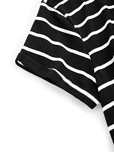 6f9cd010ed9c3 Romwe Women s Knot Front Cuffed Sleeve Striped Crop Top Tee T-Shirt at  Amazon Women s Clothing store