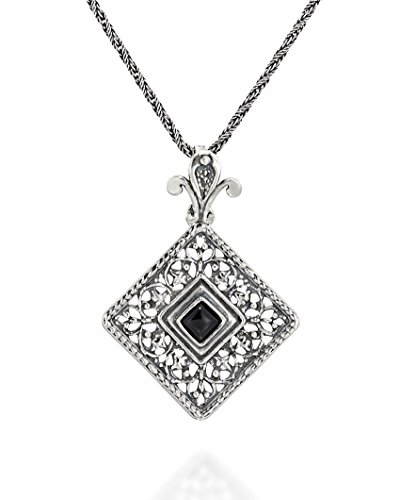 Antique Style Filigree Square Black Onyx Pendant with Decorative Bail 925 Sterling Silver Necklace, 20