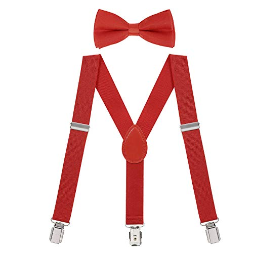 HDE Kids Suspender Bow Tie Set For Toddler Boy Child Suspenders and Bow Ties -