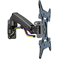 YaeKoo TV Wall Mount Full Motion Articulating Arm with Gas-Strut for 30 - 40 inch Flat Panel Screens and Displays from 11lbs up to 22lbs Metal Chrome F300-SLV