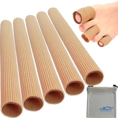 Chiroplax Toe Tubes Sleeves Protectors Cushions (5 Pack+ 1 Pouch), Fabric & Gel Lining Finger Toe Separator Tubing for Bunion, Hammer Toe, Callus, Corn, Blister (Medium)
