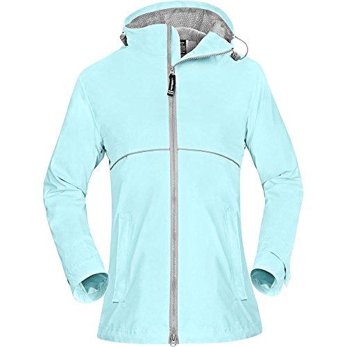 OutdoorMaster Womens' Rain Jacket - with Waterproof Hood & Reflective Stripes (Aqua,XL)