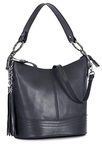 Shape Satchel Top Handle Medium Shoulder Handbag Grey NIKKI Top Dark LIATALIA Womens Italian Bucket Leather Handle wBaaf8