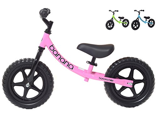 Banana Bike LT - Lightweight Balance Bike for Kids - 2, 3 & 4 Year Olds (Pink) (Quick Release Pedals)