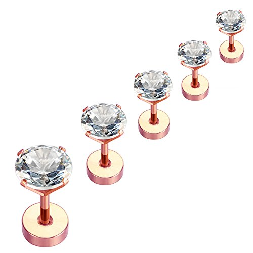 Nicever Stainless Steel Cubic Zirconia Stud Earrings Helix Cartilage Earrings Flat Back 3-7mm 5 Pairs Rose Gold Color ()