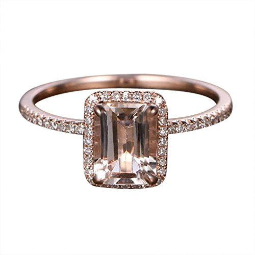 - Limited Time Sale: Antique Halo 1.50 Carat Peach Pink Morganite (emerald cut Morganite) and Diamond Engagement Ring in 10k Rose Gold