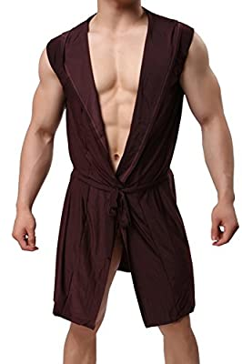 Mendove Mens Silk Hooded Lounge Robe Open Front Kimono Bathrobe