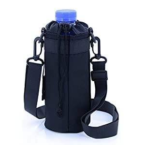 U-TIMES Water Bottle Holder 750 ml Nylon Water Bottle Carrier/Bag/Pouch/Case/Cover/Sleeve With Shoulder Strap & Belt Handle & Molle Accessories - Drawstring Closure(Black)
