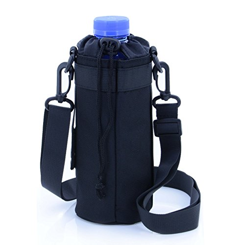 U-TIMES Water Bottle Holder 750 ml Nylon Water Bottle Carrier/Bag/Pouch/Case/Cover/Sleeve With Shoulder Strap & Belt Handle & Molle Accessories - Drawstring Closure(Black) (Plastic Carrier Water Bottle)