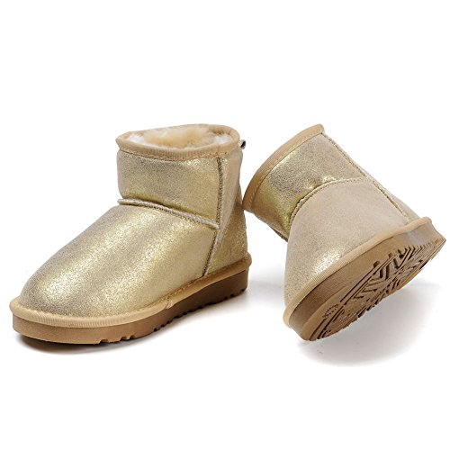 Leather Gold Snow Boots Warm MILANAO Women Winter Metallic wxTzc1pq