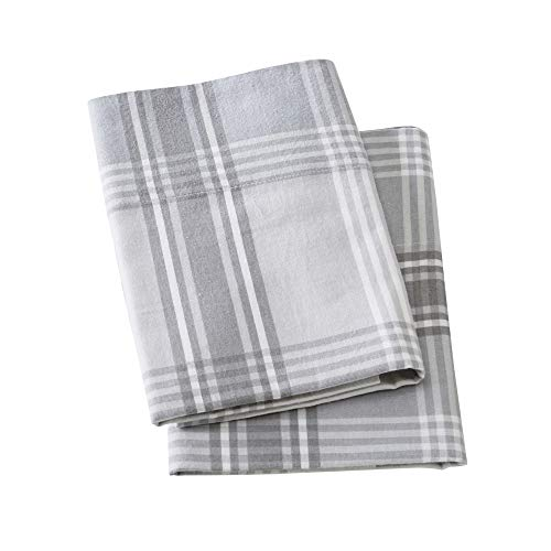 (Extra Soft Plaid 100% Turkish Cotton Flannel Pillowcases. Warm, Cozy, Lightweight, Luxury Winter Pillowcases. Belle Collection (Standard, Plaid - Grey))