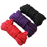 3-Pack 32 Feet 10M Soft Cotton Rope (Black, Red & Purple) All Purpose Strong Multifunctional Rope Durable Long Strap