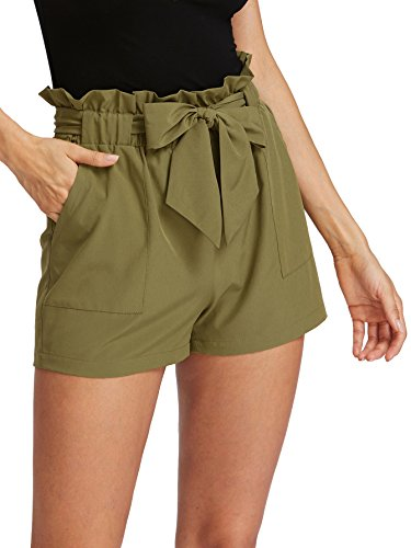 Romwe Women's Casual Elastic Waist Bowknot Summer Shorts with Pockets Army Green M