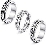 Thunaraz 3Pcs Stainless Steel Fidget Band Rings for Women Spinner Rings Triple Interlocked Rolling Flower Moon