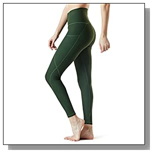 Tesla TM-FYP54-OLV_Medium Yoga Pants High-Waist Leggings w Side Pockets FYP54