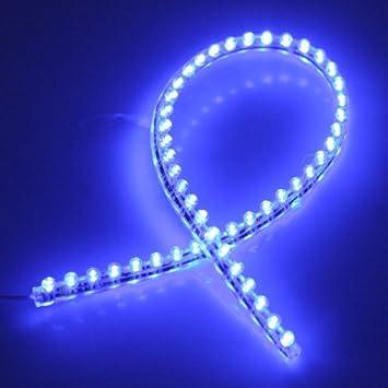 Tira con 48 luces LED de color azul, de PVC, impermeables, para pecera, acuario o para coche: Amazon.es: Coche y moto