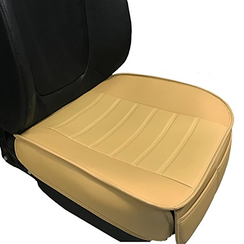 Car Seat Cushion, 1PC Edge Wrapping Car Interior PU Leather Car Seat Cushions Protector Front Car Seat Covers, Single Seat Cushion Cover Pad Mat for Auto Four-door sedan & SUV Driver Seat(Beige) Bmw Front Seat
