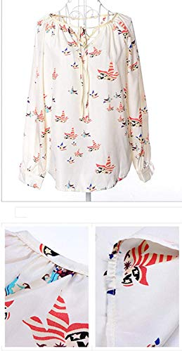Unique Modle Chemisiers Rouge Mousseline Mode Button breal Printemps Jeune Impression Chemisier Cou Femme Et Tops lgant Shirt Manches Casual V Mode Longues Bandage BwqOprU6RB
