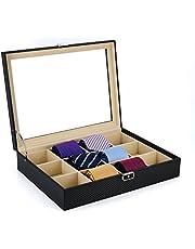 Tie Display Case for 12 Ties, Belts, and Men's Accessories Black Carbon Fiber Storage Box