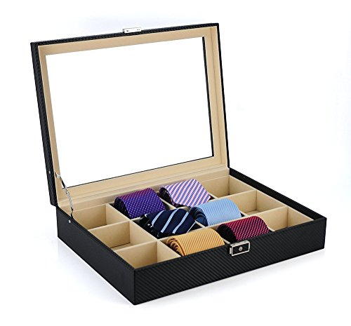 TimelyBuys Tie Display Case for 12 Ties, Belts, and Men's Accessories Black Carbon Fiber Storage Box
