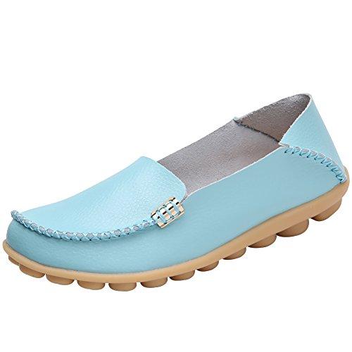 Verocara Kvinna Läder Platta Båt Skor Skor Kör Loafers Ljusblå