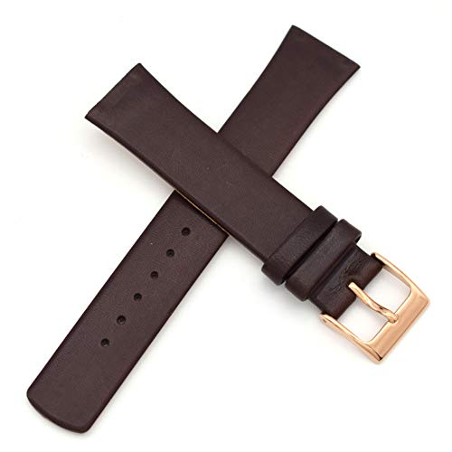 18~19mm Screwing Genuine Leather Watch Strap Replacement for Skagen - 380X Series, 384X Series (Brown)