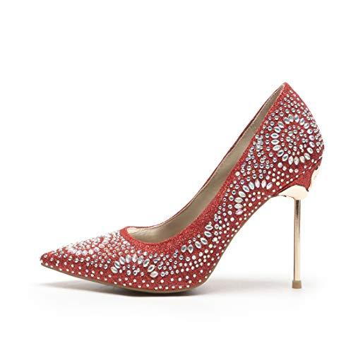 On Red Haut Avec En Décolleté Cristal Pointu Femme Slip Glitter Chaussures Vitalo Pin Talon Mariage Elegant qxzBZ6RwP