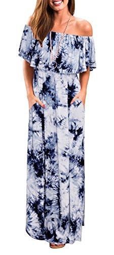 (Womens Off The Shoulder Ruffle Party Dresses Tie Dye Split Maxi Long Dress Blue M)