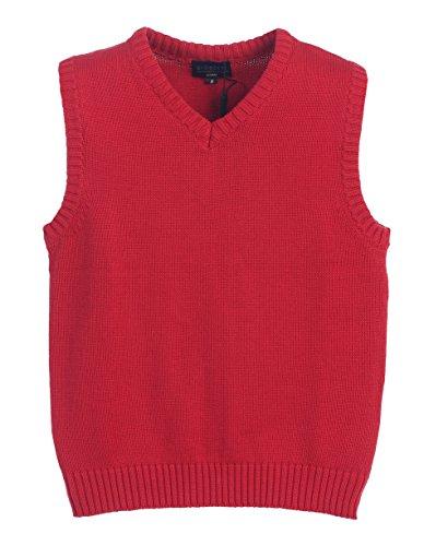 [Gioberti Boy's V-Neck Knitted Pullover Sweater Vest, Red, Size 8] (Red V-neck Pullover)