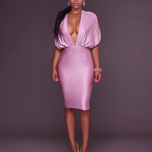 Elegante Senza Schienale Occasione V Pink Hip Midi Donna Confezione Profonda Abito Da Festa Wangmei Sera ukXZOTPi