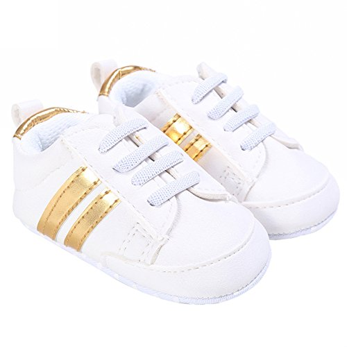 nicholco recién nacido bebé Niños Niñas Suave único bebé prewalker infantil Zapatillas zapatos White + Silver Edge Talla:6-12M White + Golden Edge
