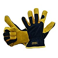 General Utility Work Gloves with Cowhide Leather Palm,Dexterity Breathable Design