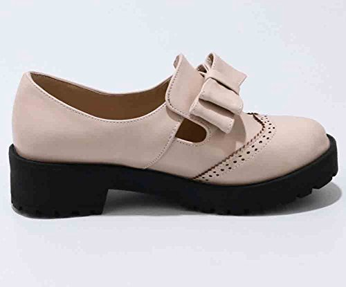 Shoes Toe Retro Heel Oxfords Low Round Block Apricot Women's Bowknot Easemax wHUqzax
