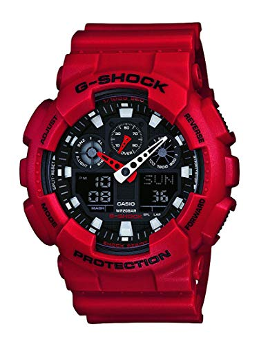 (Casio Men's XL Series G-Shock Quartz 200M WR Shock Resistant Resin Color: Red (Model GA-100B-4ACR) )