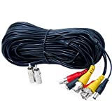 VideoSecu 50ft Feet Audio Video Power CCTV Security Camera Cable with Bonus BNC RCA Adapters 1JC image