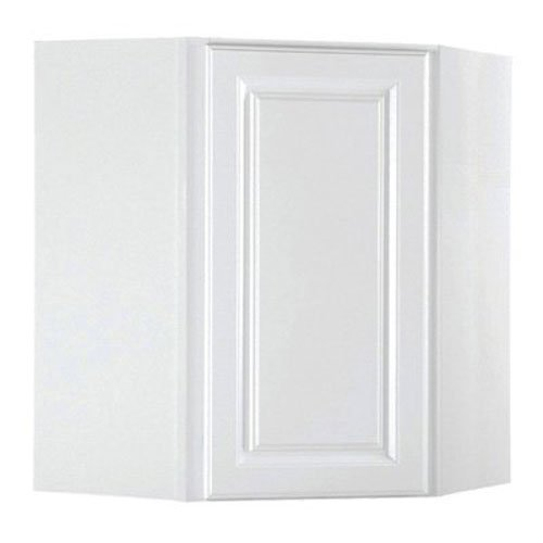 RSI HOME PRODUCTS SALES CBKWD2430-SW White Finish Assembled Diagonal Corner Wall Cabinet, (Diagonal Corner Wall)