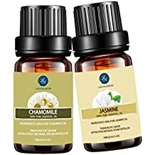 LAGUNAMOON Jasmine Chamomile Essential Oils Set,10ML Natural Pure Aromatherapy Oils Therapeutic Grade, Value 2 Pack