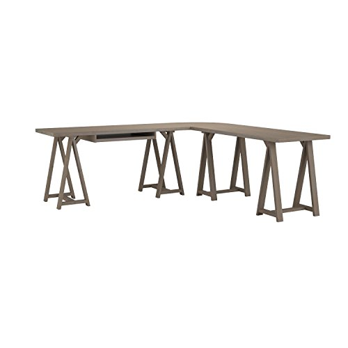 Simpli Home Sawhorse Solid Wood L-Shape Corner Desk, Distressed Grey by Simpli Home (Image #7)