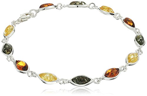 Multicolor Amber Sterling Silver Classic Bracelet