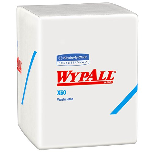 Wypall X60 Washcloths (41083) with Hydroknit, 12.5 x 10, White, Quarterfold, 8 Packs / Case, 70 Sheets / Pack