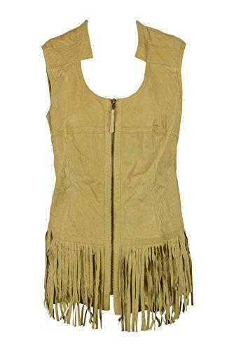 Illia Womens Camel Beige Zip Front Leather Fringe Hem Vest Top (Solid Genuine Leather Ladies Vest)