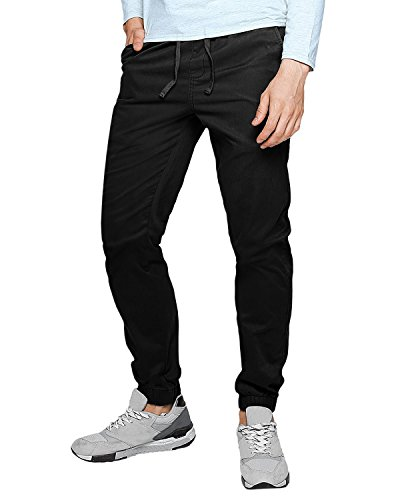 MODCHOK Men's Chino Jogger Pants Casusal Workout Trousers Slim Fit Sweatpants Black XL