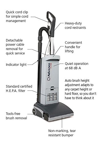 Advance VU500 12 Upright Vacuum Model Number 107404753, Grey