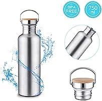 Charminer Edelstahl Trinkflasche, 750 ml Sportflasche, Langlebige Wasserflasche, Wiederverwendbare öko Wasserflasche,...