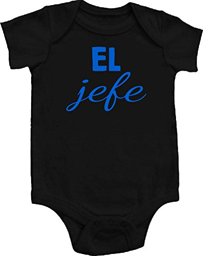 El Jefe Boss Spanish Funny Baby Onepiece Bodysuit Unisex Gift Regalo Black w/ Fluorescent Blue Font (6-12 months (Medium))