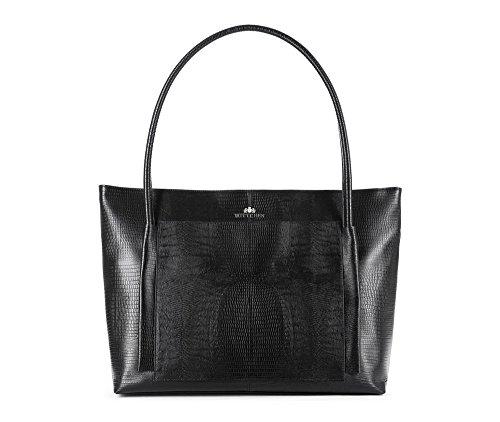 WITTCHEN Klassische Tasche | 32x39cm, Narbenleder | Passend für A4 Größe: Ja | Schwarz, Kollektion: Lizard | 15-4-206-1J